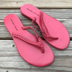 New York & Company Women Flat Deep Pink Flip Flop